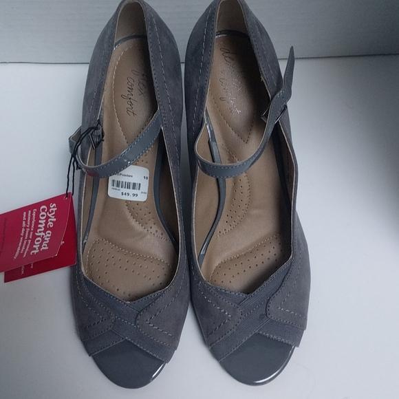 👠Grey open toe shoes by dexflex comfort🍀👠🍀🍀